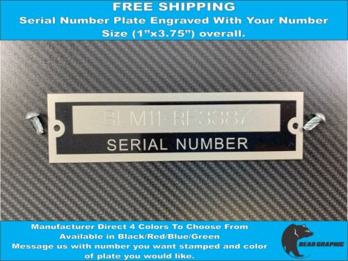 SERIAL NUMBER TAG PLATE ENGRAVED WITH NUMBER IDENTIFICATION ASSET TAG HIN VIN