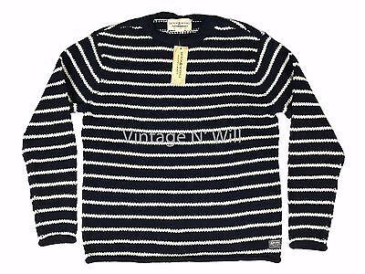 Denim Supply Ralph Lauren Mens Navy Blue/ White Striped Cotton Sweater Nautical