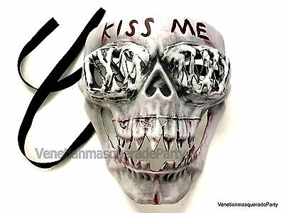 Men Kiss me horror Skull mask Anarchy movie Theme Purge Cosplay Costume Party