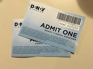 2 DENDY cinema vouchers for $16 Franklin Gungahlin Area Preview