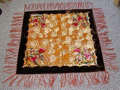 Antique Vintage Velvet Silk Fringed Floral Piano Scarf Shawl Tablecloth VG
