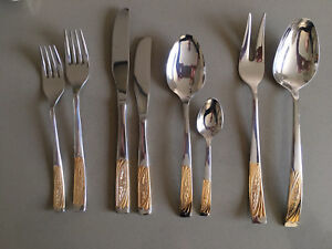 Inoxopran 18/10 gold plated cutlery set, Made in Italy