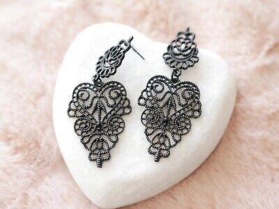 Stella Black Chandelier - Black Chantilly Lace Statement Chandelier Earrings Stella & Dot Inspired Gift