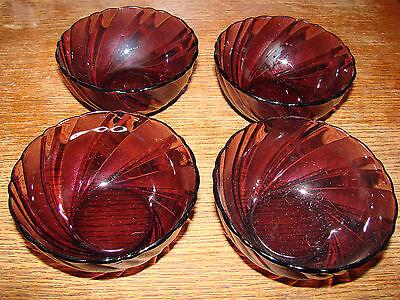 """4 Vintage DURALEX FRANCE Bormioli Rocco Rivage Swirl Amethyst 4 5/8"""" Glass Bowls"""