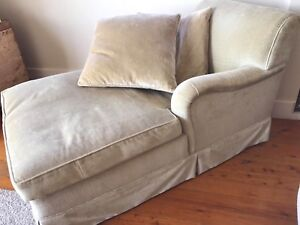 Champagne coloured chaise lounge / armchair - velvet type fabric
