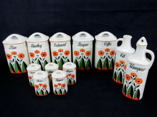 Vintage Ceramic Kitchen Canister, Cruet, Spice Jar Set of 12 Made in Germany