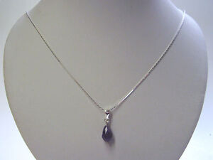 BB 4 CT GENUINE AMETHYST BRIOLETTE PENDANT NECKLACE SOLID 925 STERLING SILVER