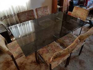 MUST GO - 6 Place Glass Top Dining Table and 6 Chairs Marrickville Marrickville Area Preview