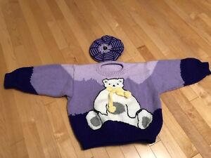 Knitted Teddy Bear sweater with Tam for a 4-5 years old