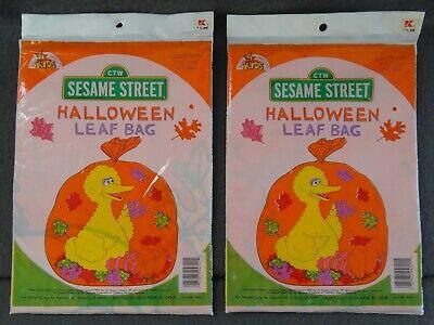(2) Sesame Street Big Bird Halloween Leaf Bags Lawn Decoration Fall Orange - Big Bird Halloween