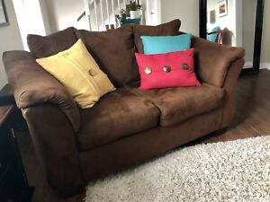 Chocolate Brown Microsuede Sofa and Loveseat