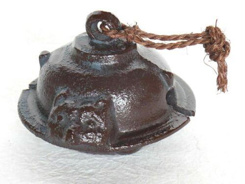 """Japanese Bell Raccoon Dog Iron Tanuki Brown Vintage H6.2cm  2.44"""""""