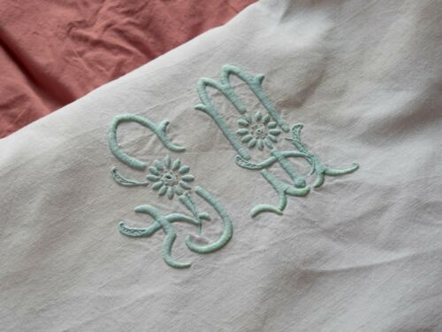 Antique 1900 Old Blue Green Monogrammed French Linen Sheet