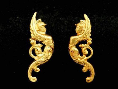 Ornate  Angels w. Helmets Vintage Brass Stampings /Mirror Image / One Pair