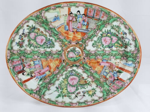 Antique Chinese Export Large Rose Medallion Platter Charger Plate Tray Decorativ