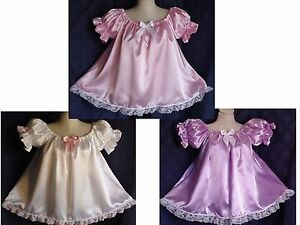 Choice of Color Adult Sissy Baby Doll Style Satin Dress