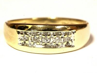 14k yellow gold .15ct SI2 H diamond mens wedding band ring 5.4g gents  14k Gents Wedding Band