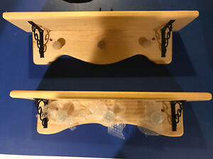 "Wood Wall Shelves with 3 hooks. 18"""