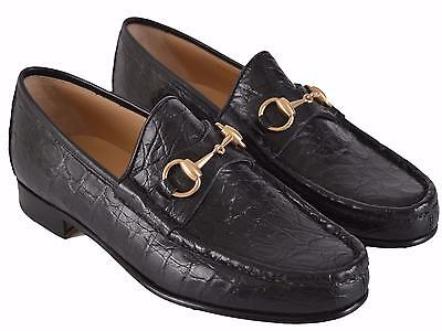ab9f69c72 NEW Gucci Men's $1,649 Black Caiman Alligator Horsebit Loafer Shoes 6.5 D