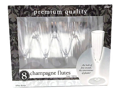 Champagne Flutes 5 oz Plastic Reuseable Amscan Package of 8 New in Package (Halloween Champagne Flutes)