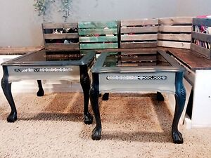 Ornate glass top accent tables