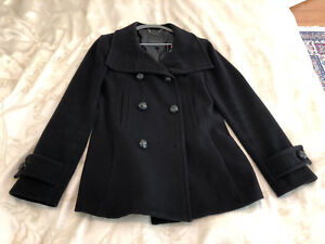 BABATON BLACK WOOL COAT S