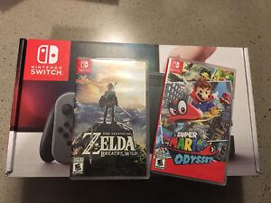 Nintendo switch with Mario and Zelda