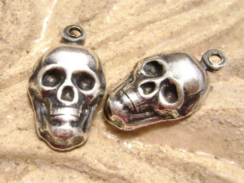 0288 - Charm Drop Stamping .925 Sterling Silver ptd Brass Skull MADE USA, 2 Qty