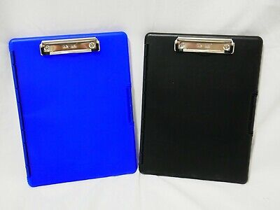 Lot Of 2 Dexas Slimcase Storage Clipboard With Side Opening Blue And Black 4d1