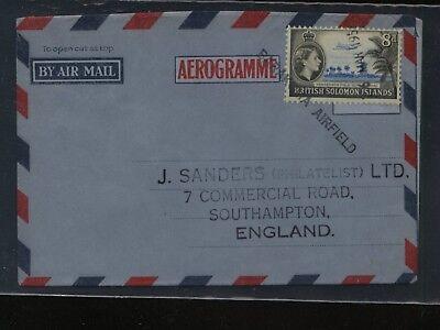 British Solomon Islands air letter sheet straight line cancel    MS0425