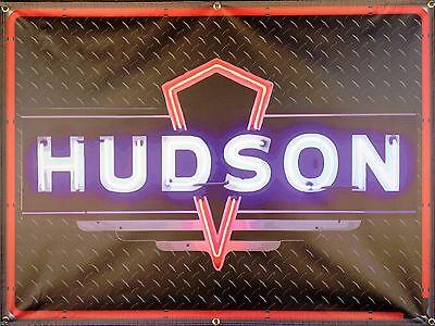 HUDSON CAR SALES AUTO Wholesaler NEON STYLE BANNER VINTAGE SIGN GARAGE ART 4' X 3'