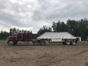 Freightliner with Clam Dump Gravel Trailer