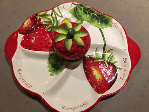 Strawberry Platter with Dip Dish