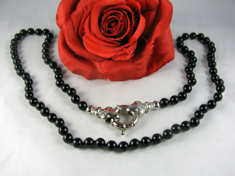 Beautiful Parklane Black beaded Silver tone Necklace CAT RESCUE
