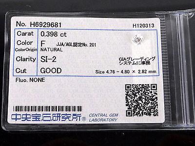 0.398 Carat SI2 F Color GOOD Round Cut Loose Natural Diamond +CGL Grading Report