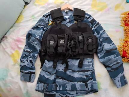 Tactical Russian special forces (OMON) riot gear with netting