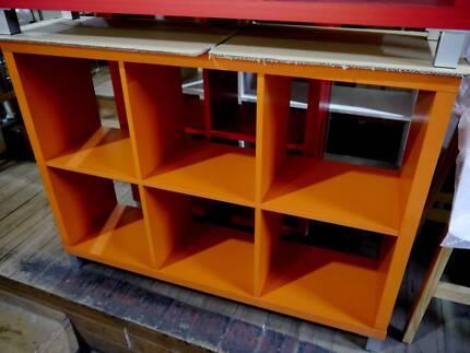 New Replica Kallax 6 Cube Bedroom Storage Shelves Red Orange 4 8 Richmond Yarra Area Preview