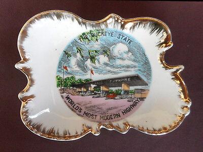 OHIO TURNPIKE Dish Tray THE BUCKEYE STATE 1950s Souvenir WORLD'S MOST MODERN HWY