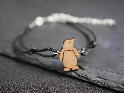 Pinguin Armband (Armband mit Holz Pinguin - Eis - Vogel - Wood - schwarz)
