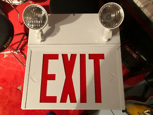 Exit sign with battery powered lights