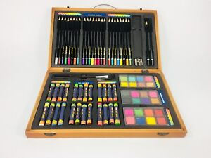Art set pencils pastels wooden box case drawing sketch paints