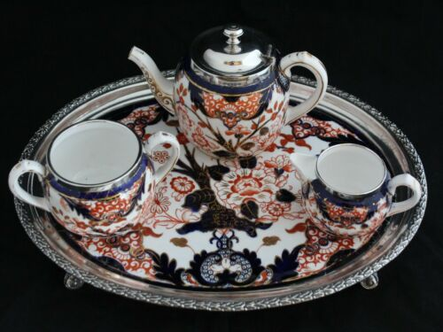 Antique Royal Crown Derby King Imari 19th C. TEAPOT SUGAR BOWL CREAMER TRAY SET