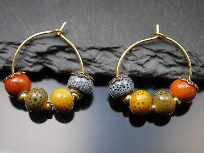 Ohrhänger Creolen mit Keramik Perlen - gold Kreolen Ohrringe hoop bunt handgemac ()