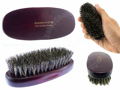 100% Pure Soft Boar Bristle Military Palm Hair Brush Beard Natural Wood Handle  Wood Boar Bristle Hair Brush