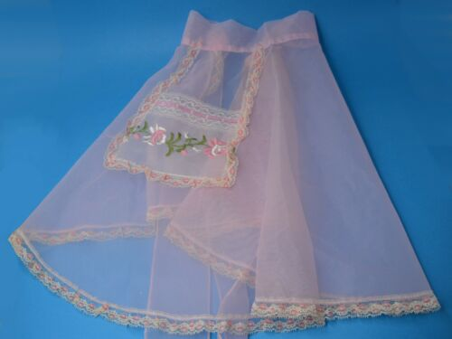 vtg Mid Century Pink sheer organza Apron   lace housewife 1950s