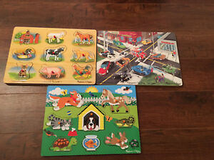 3 Melissa and Doug wooden puzzles