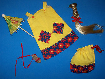 Vintage Francie Doll Summer Coolers Beach Cover Up Outfit 1967 #1292 Braid &Tote
