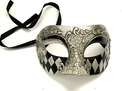 Black Gold/Silver Harlequin masquerade eye mask men boys Halloween costume Party - Harlequin Masquerade Halloween Costume