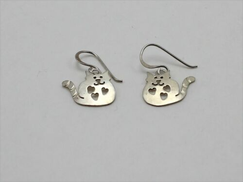 925 Sterling Silver Signed Far Fetched Dangle Earrings w/Cat Design