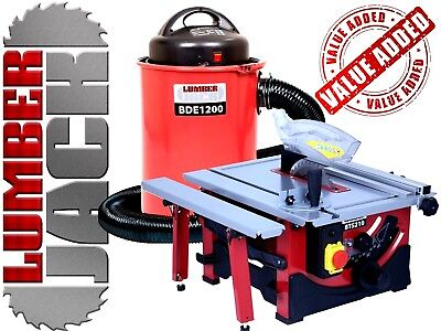 """Lumberjack 8"""" Bench Top Table Saw & 50 Litre Dust Chip Extractor with Hose 240v"""